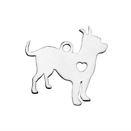 Nemesacél medál / fityegő - 18x19x1mm-es kutya