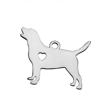 Nemesacél medál / fityegő - 16x20x1mm-es kutya