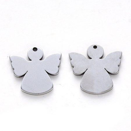 Nemesacél medál / fityegő - 15x15x1mm-es angyal