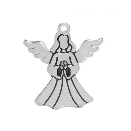 Antikolt nemesacél medál / fityegő - 22x18x1mm-es angyal