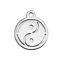 Nemesacél medál / fityegő - 14x12x1mm-es yin yang