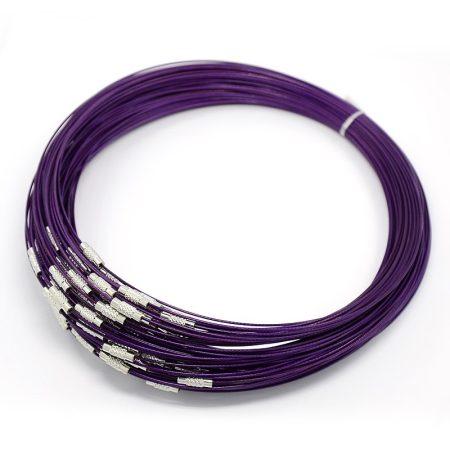 Sodrony nyaklánc, csavaros kapocsal - 1mm vastagságú, 45cm hosszú - lila