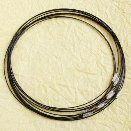Sodrony nyaklánc, csavaros kapocsal - 1mm vastagságú, 45cm hosszú - fekete