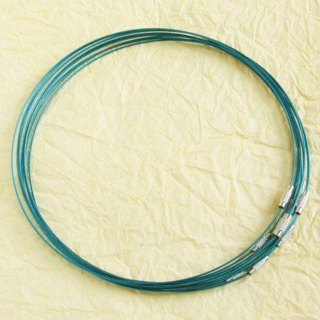 Sodrony nyaklánc, csavaros kapocsal - 1mm vastagságú, 45cm hosszú - olajkék