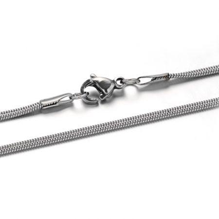 Nemesacél nyaklánc, lapos kígyólánc - 2mm széles, kb. 50cm hosszú