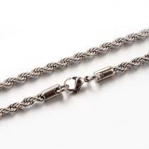 Nemesacél csavart nyaklánc - 4mm széles, kb. 60cm hosszú