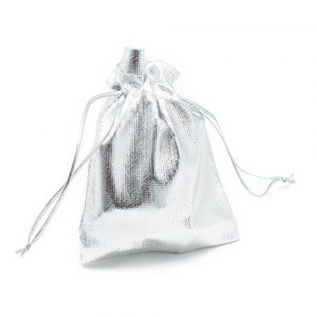 Textil ajándéktasak kb. 9x12cm-es ezüst színű