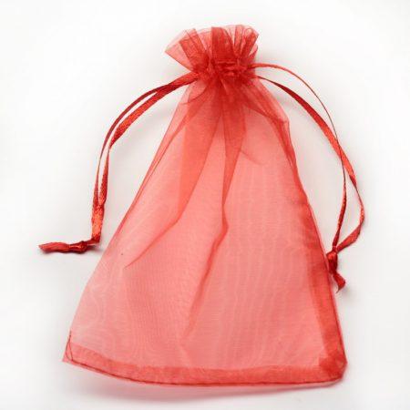 Organza ajándéktasak kb. 10x14cm-es piros