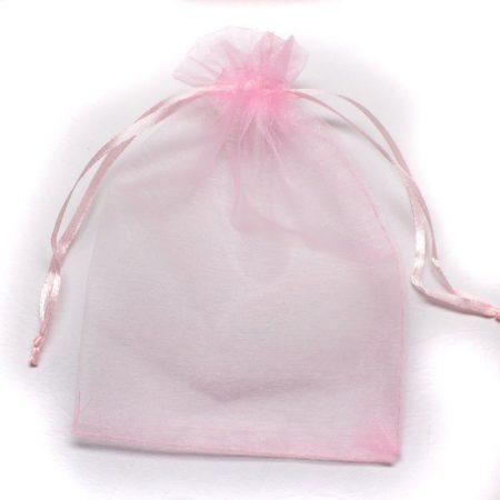 Organza ajándéktasak kb. 10x14cm-es rózsaszín
