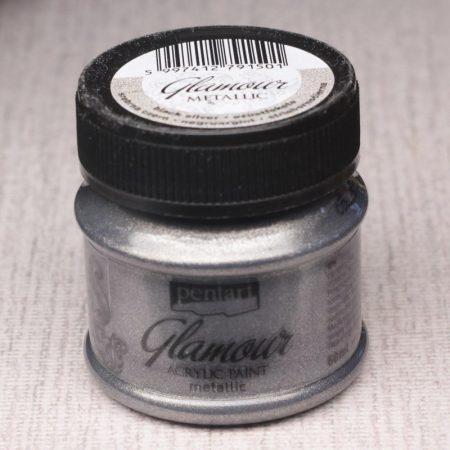 Pentart Glamour akrilfesték 50ml ezüstfekete