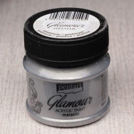 Pentart Glamour akrilfesték 50ml platina