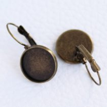 Antik bronz színű francia kapcsos ragasztható fülbevaló alap - 14mm-es kabosonhoz - 1 pár