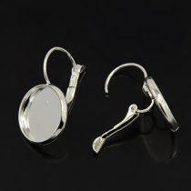 Ezüst színű francia kapcsos ragasztható fülbevaló alap - 14mm-es kabosonhoz - 1 pár