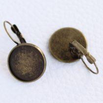 Antik bronz színű francia kapcsos ragasztható fülbevaló alap - 16mm-es kabosonhoz - 1 pár