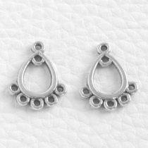 Tibeti stílusú, antik ezüst színű fülbevaló (vagy medál) alap - 16x13mm-es - 1 pár (2db)