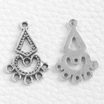 Tibeti stílusú, antik ezüst színű fülbevaló (vagy medál) alap - 26x16,5mm-es - 1 pár (2db)