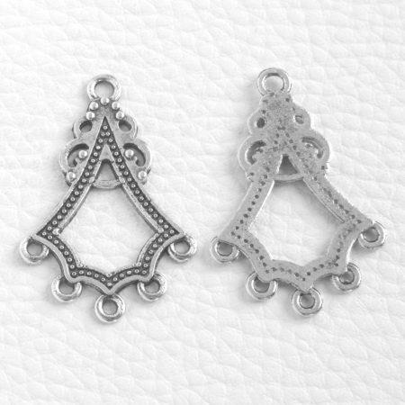 Tibeti stílusú, antik ezüst színű fülbevaló (vagy medál) alap - 38x25mm-es - 1 pár (2db)