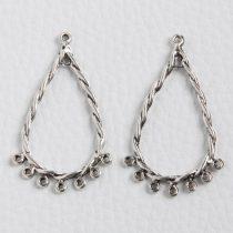 Tibeti stílusú, antik ezüst színű fülbevaló (vagy medál) alap - 45x25mm-es - 1 pár (2db)
