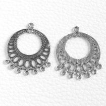 Tibeti stílusú, antik ezüst színű fülbevaló (vagy medál) alap - 38x31mm-es - 1 pár (2db)