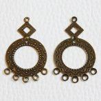 Antik bronz színű filigrán fülbevaló (vagy medál) alap - 40x24mm-es - 1 pár (2db)