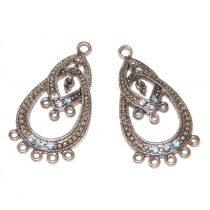 Tibeti stílusú, antik ezüst színű fülbevaló (vagy medál) alap Swarovski kristályokkal - Aquamarine - 40x21mm-es - 1 pár (2db)