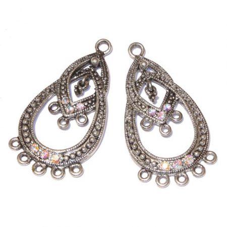Tibeti stílusú, antik ezüst színű fülbevaló (vagy medál) alap Swarovski kristályokkal - Crystal AB - 40x21mm-es - 1 pár (2db)