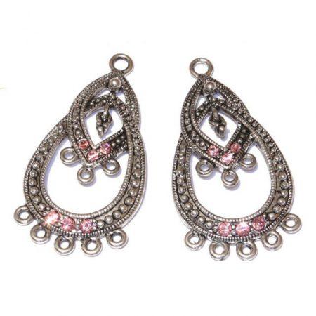 Tibeti stílusú, antik ezüst színű fülbevaló (vagy medál) alap Swarovski kristályokkal - Light Rose - 40x21mm-es - 1 pár (2db)
