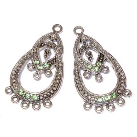Tibeti stílusú, antik ezüst színű fülbevaló (vagy medál) alap Swarovski kristályokkal - Peridot - 40x21mm-es - 1 pár (2db)