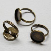 Antik bronz színű állítható méretű ragasztható gyűrűalap - 14mm-es kabosonhoz