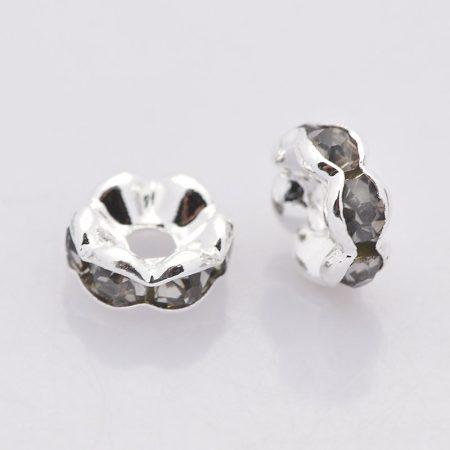 5x2,5mm-es strasszos köztes rondell ezüst színű foglalatban - black diamond