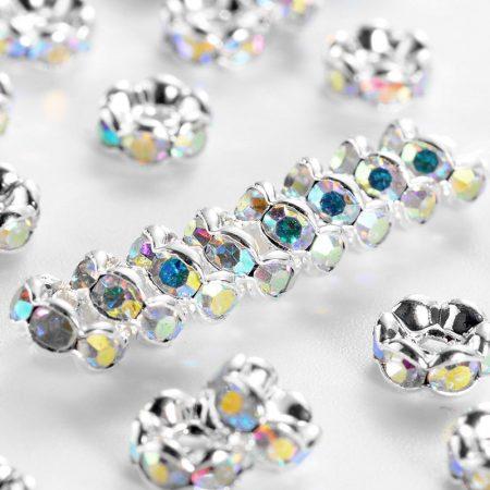 5x2,5mm-es strasszos köztes rondell ezüst színű foglalatban - kristály AB