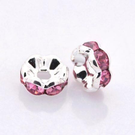 5x2,5mm-es strasszos köztes rondell ezüst színű foglalatban - rose