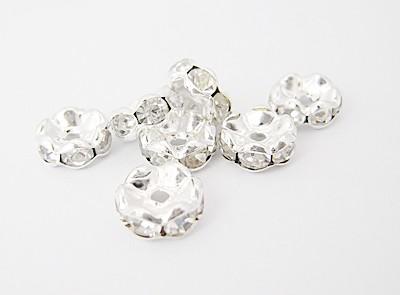 5x2,5mm-es strasszos köztes rondell ezüst színű foglalatban - kristály színű