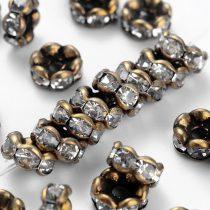 6x3mm-es strasszos köztes rondell antik bronz színű foglalatban - kristály színű