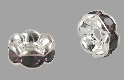 6x3mm-es strasszos köztes rondell ezüst színű foglalatban - amethyst