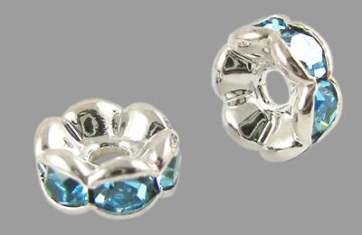 6x3mm-es strasszos köztes rondell ezüst színű foglalatban - aquamarine