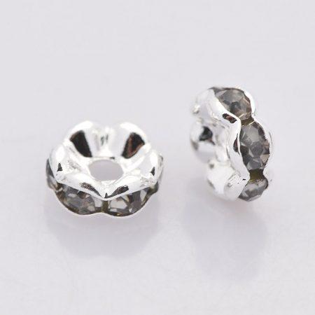 6x3mm-es strasszos köztes rondell ezüst színű foglalatban - black diamond