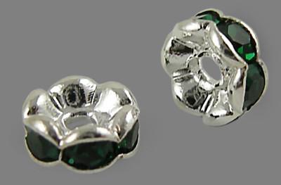 6x3mm-es strasszos köztes rondell ezüst színű foglalatban - emerald