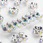 6x3mm-es strasszos köztes rondell ezüst színű foglalatban - kristály AB