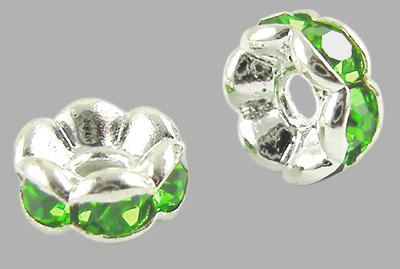 6x3mm-es strasszos köztes rondell ezüst színű foglalatban - peridot
