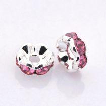 6x3mm-es strasszos köztes rondell ezüst színű foglalatban - rose