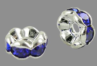 6x3mm-es strasszos köztes rondell ezüst színű foglalatban - sapphire