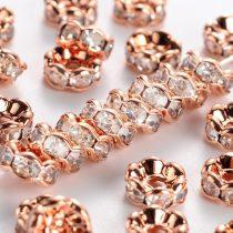 6x3mm-es strasszos köztes rondell rózsaarany színű foglalatban - kristály színű