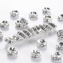 7x3,5mm-es strasszos köztes rondell ezüst színű foglalatban - kristály színű