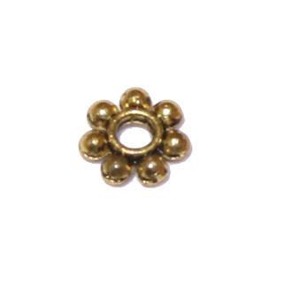 Tibeti stílusú fém köztes - antik arany színű 4mm-es virág - 100db