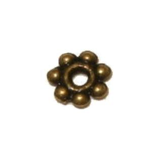 Tibeti stílusú fém köztes - antik bronz színű 4mm-es virág - 100db