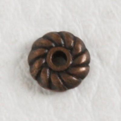 Tibeti stílusú fém köztes - antik vörösréz színű 2x6mm-es rondell