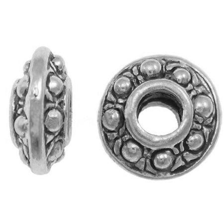 Tibeti stílusú fém köztes - antik ezüst színű 3,5x8mm-es rondell, 3mm-es furattal