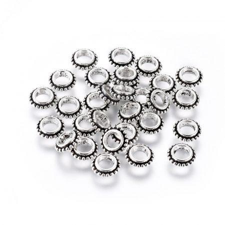 Tibeti stílusú fém köztes - antik ezüst színű 2,5x8mm-es rondell, furat: 3,8mm
