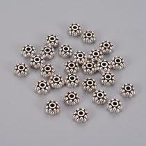 Tibeti stílusú fém köztes - antik ezüst színű 4x8mm-es rondell, furat: 1,5mm